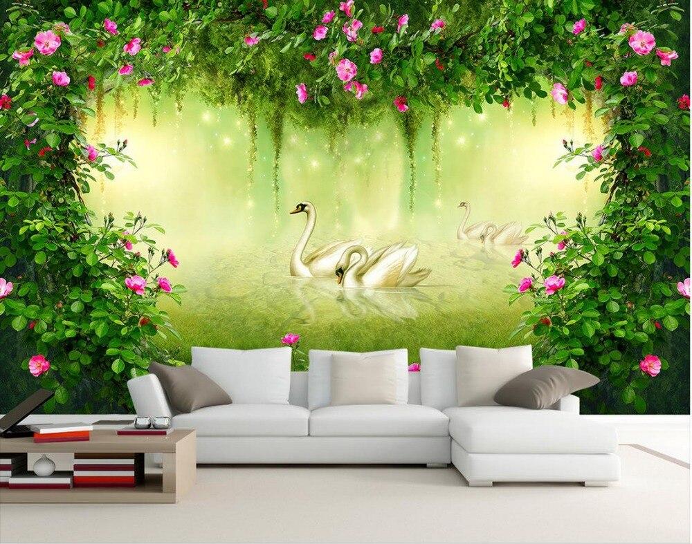 3d mural wallpaper Custom photo wallpaper Large 3D Stereo romantic Rose flower  fantasy forest TV sofa backdrop  Обои