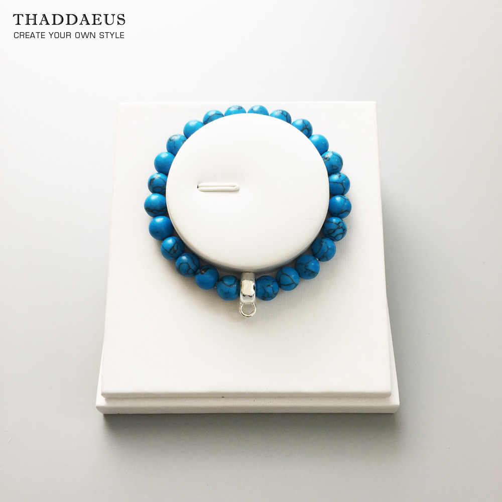 Blue Stone Ronde Kralen Armband, Thomas Style Glam Fashion Goede Jewerly Voor Vrouwen, 2017 Ts Gift In 925 Zilver, Super Deals