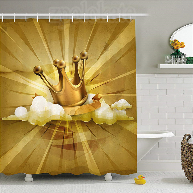 King Shower Curtain Medieval Fairytale Inspired Crown With Clouds Abstract Bold Striped Image Fabric Bathroom Decor