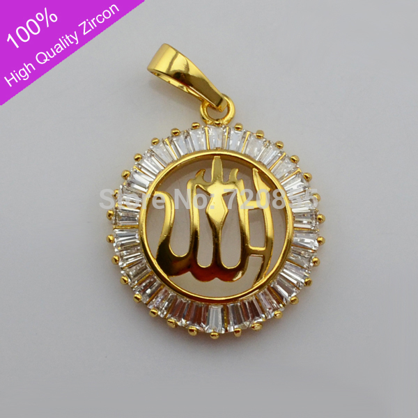 Muslim product18k gold plated allah pendantsislamic arabic allah pendant charm gold18k gold plated arabic islamic zircon jewelry muslim for women and men color gold and silver aloadofball Images