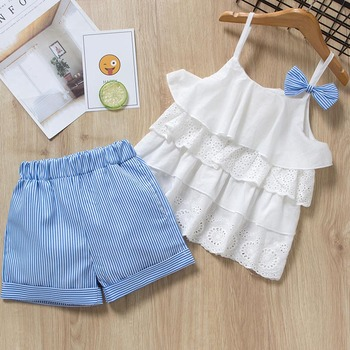 Menoea Girls Clothing Sets 2019 New Style Summer Children Clothes Cute  Dots Lace + Bow Short Pants 2pc Kids Clothes Sets 2
