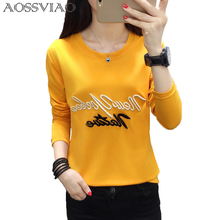 Cartoon Embroidery Autumn T-shirt Women New Fashion Simple Long Sleeve Tops Lovely Black White Loose Female T-shirt Plus Size
