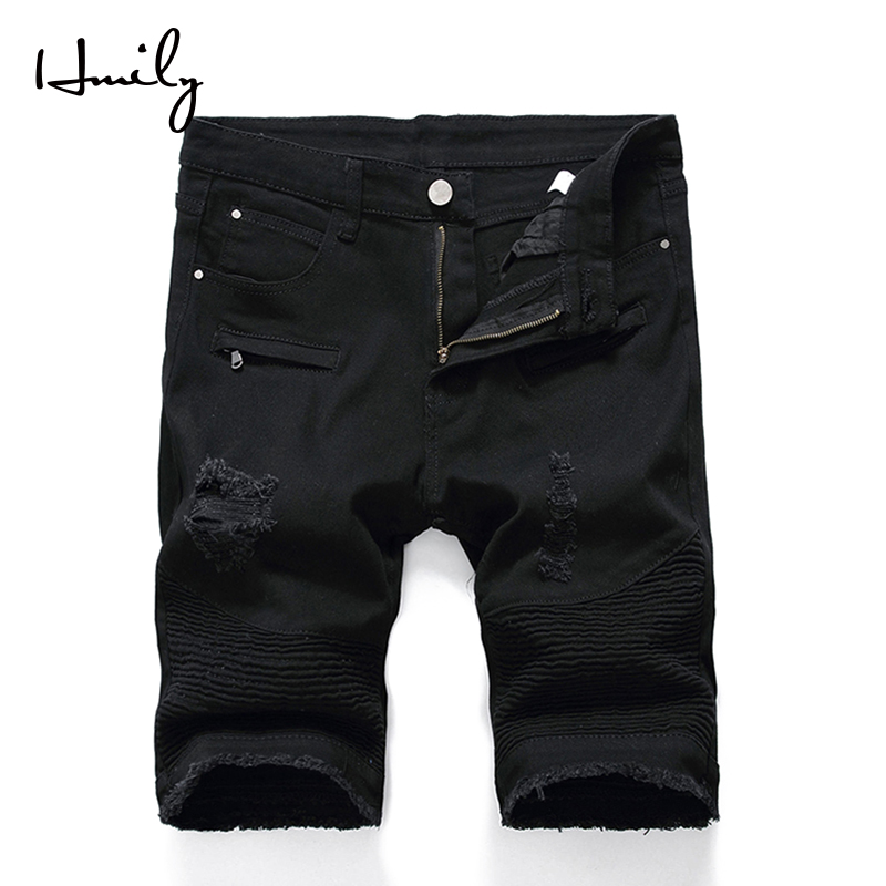 HMILY Summer Denim Shorts Jeans Men Stretch Slim Fit Short Jeans Mens Designer Cotton Casual Distressed Shorts Knee Length