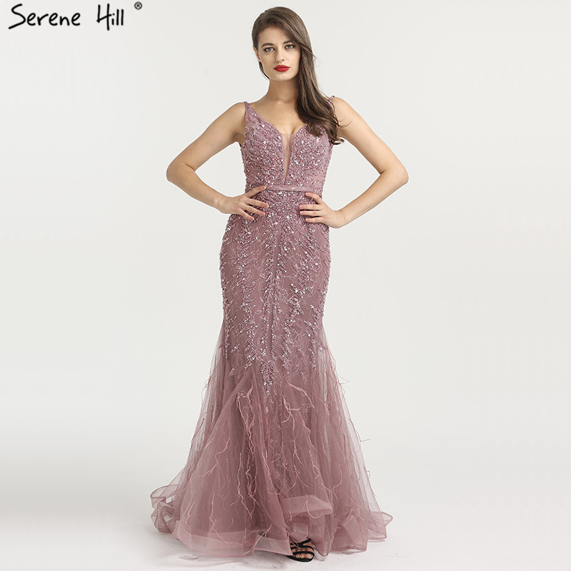 Conscientious Newest Dubai Sexy Backless Fashion Evening Dresses 2019 Sleeveless Beading Sequined Formal Evening Gowns Serene Hill La6566 Pretty And Colorful Evening Dresses