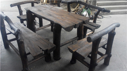 Charmant Outdoor Gardening Heavy Solid Wood Furniture Suite Carbonized Preservative  Antique Wooden Long Table Bold