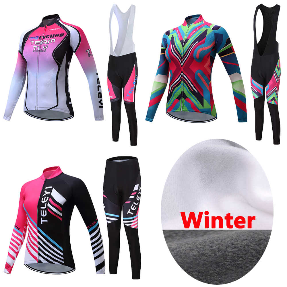 Women Female 2020 Winter Thermal Fleece Cycling Jersey Sets Mountain Bike Clothing Kits Bicycle Maillot Lady Tops Bib Pants Wear