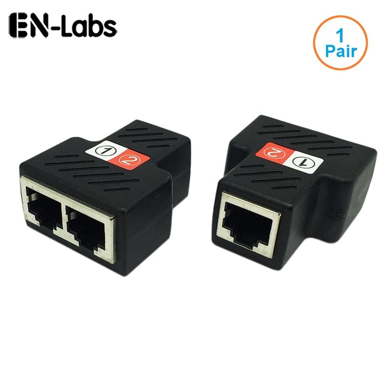 1 par RJ45 del divisor del adaptador de RJ45 hembra 1 a 2 puerto Ethernet hembra de acoplador soporta dos dispositivos de acceso a internet al mismo tiempo