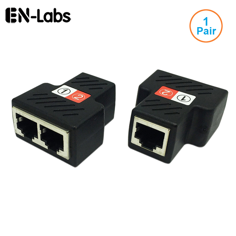 1Pair RJ45 Splitter Adapter RJ45 Female 1 to 2 port Female Ethernet CouplerSupports two devices access internet simultaneously
