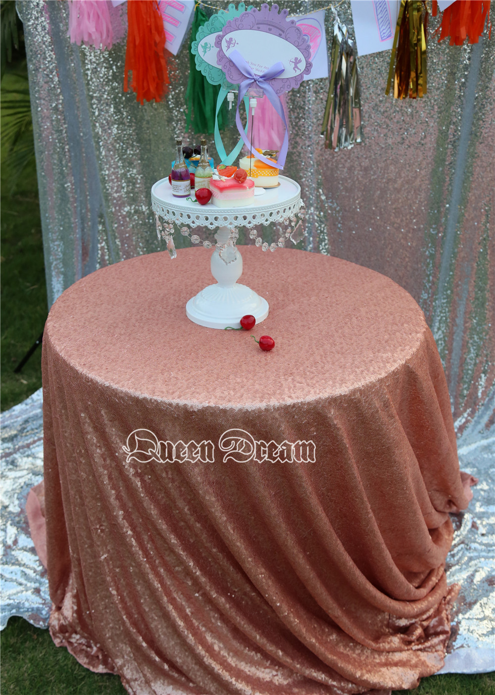 96 inch round tablecloth - Free Shipping 96 Inches Round Blush Embroidery Mesh Sequin Tablecloth Sequin Table Overlay For Wedding Party Decoration