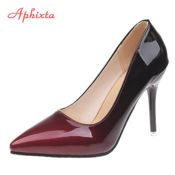 Aphixta Pointed Toe Women Thin Heel Shoes 10cm Heels Patent Leather Wedding Party Woman Big Size 48 - discount item  50% OFF Women's Shoes