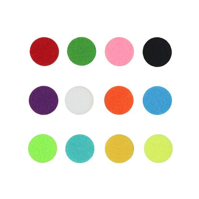20 unids/lote 17mm colorido de las almohadillas de fieltro joyería hallazgos ajuste para difusor de aceite esencial Perfume 25mm medallón para aroma medallón
