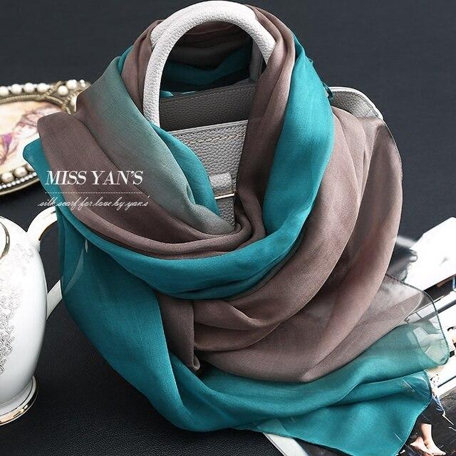 7a4c3f86bec3 Genuino seda bufanda de las mujeres de moda clásico tinta verde degradado Bufandas  verano Otoño Invierno