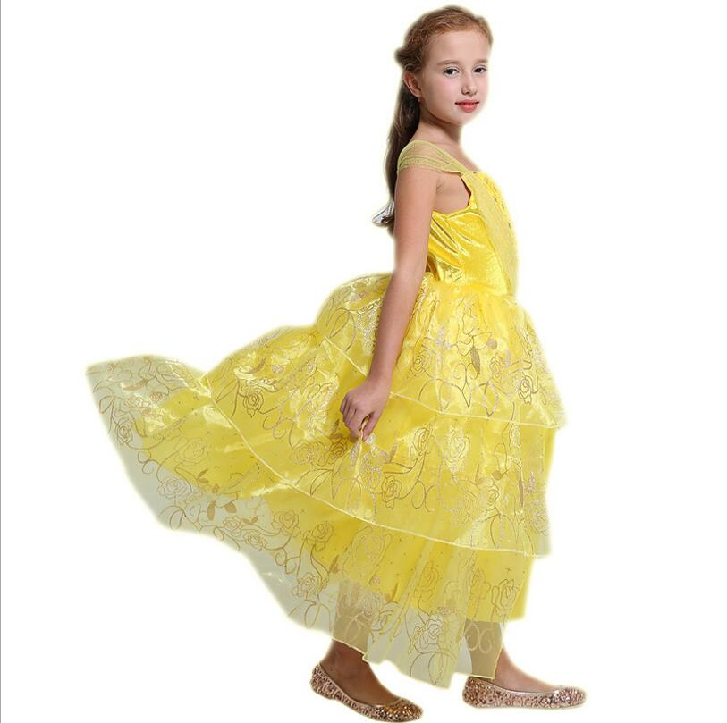 Beauty and the Beast Belle cosplay costume kids princess Belle dress baby flower girl dresses Children party dress Gift nnw beauty and the beast belle cosplay princess fancy kids costumes grils yellow dresses with sleeve hight quality