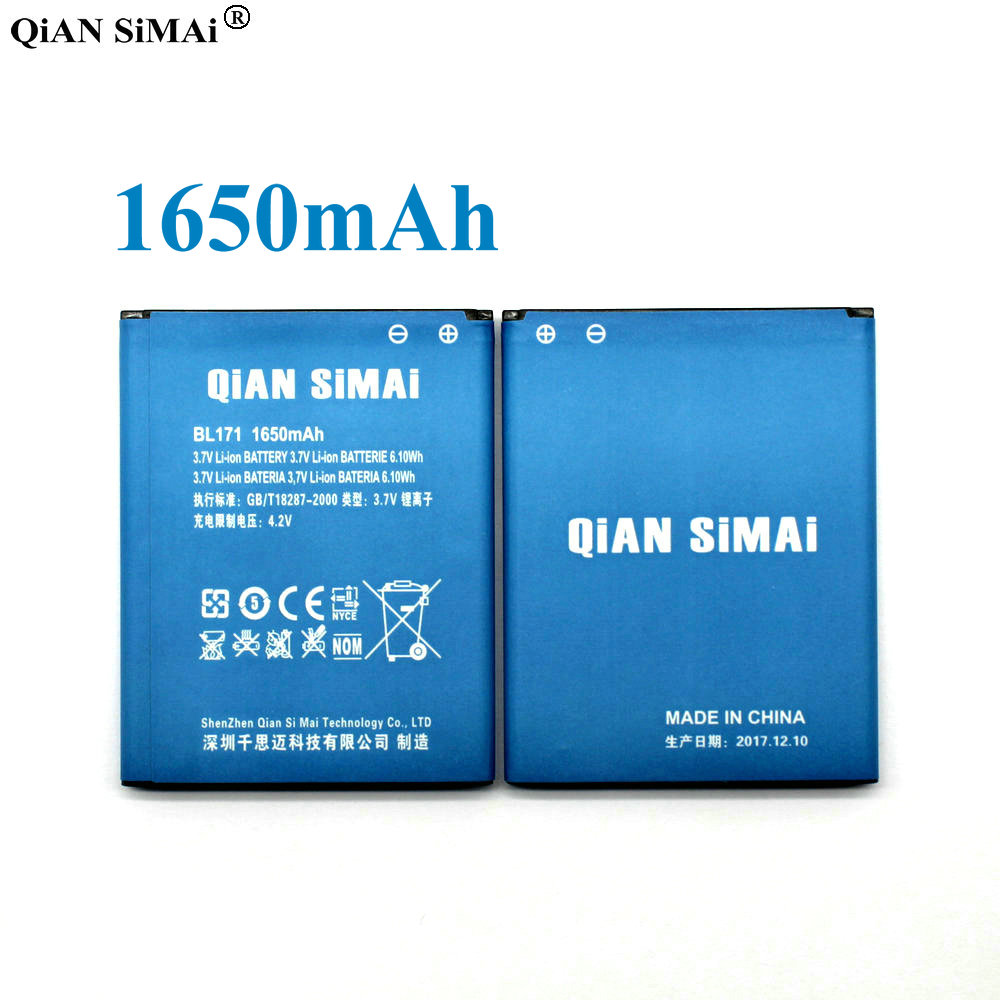 QiAN SiMAi 1650mAh BL171 Mobile Phone Battery for Lenovo A319 A356 A368 A370e A376 A60 A65 A500 A390 A390T BL 171 Phone