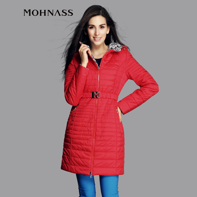 MOHNASS 2015 New women winter coat Cotton Fashion Short Slim Warm Pocket Zipper Hooded Sided wear  AC-4A8726-2