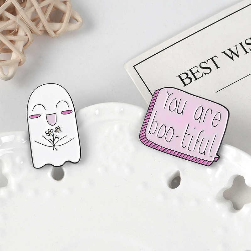 Qihe Perhiasan Hantu Pin Manis Dialog dan Bunga Hantu Enamel Pin Cute Kerah Pin Kawaii Bros untuk Wanita Gadis