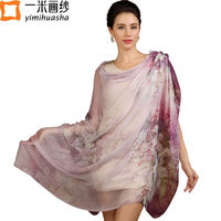 2016 Winter Floral Print Pure Silk Scarf For Women Long Hijab Shawl Wrap Foulard Femme Soie