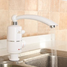 220V Instant Tankless Electric Faucets Kitchen Water Heater Faucet Tap Single Hole Handle Swivel Basin Electric Tap AU Plug