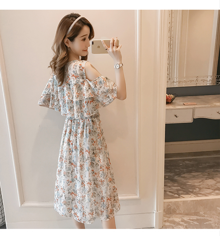Pregnant Nursing Dress Off Shoulder print Maternity Breastfeeding Dresses For Photo Shoot Chiffon Maternity Dress Party Clothes 79