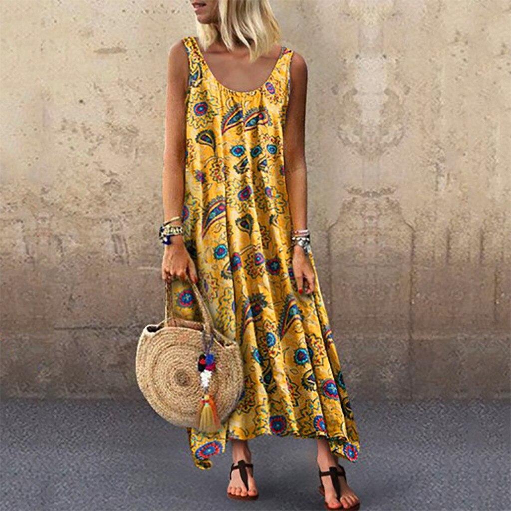 Feitong Fashion Dress Women Loose Sleeveless O-neck Irregular Print Retro Casual Dress Sundress Bohemian Summer Dress Women