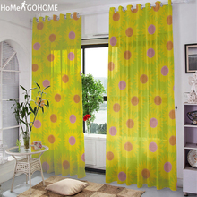 Sunflower Tulle Curtains for Bedroom Window Curtain Living Room Voile Door Drape Panel Sheer Tulle Curtains Kitchen Home Decor pastoral daisy door screen voile window sheer curtain blinds drape bedroom curtains backdrop christmas decorations for home wall