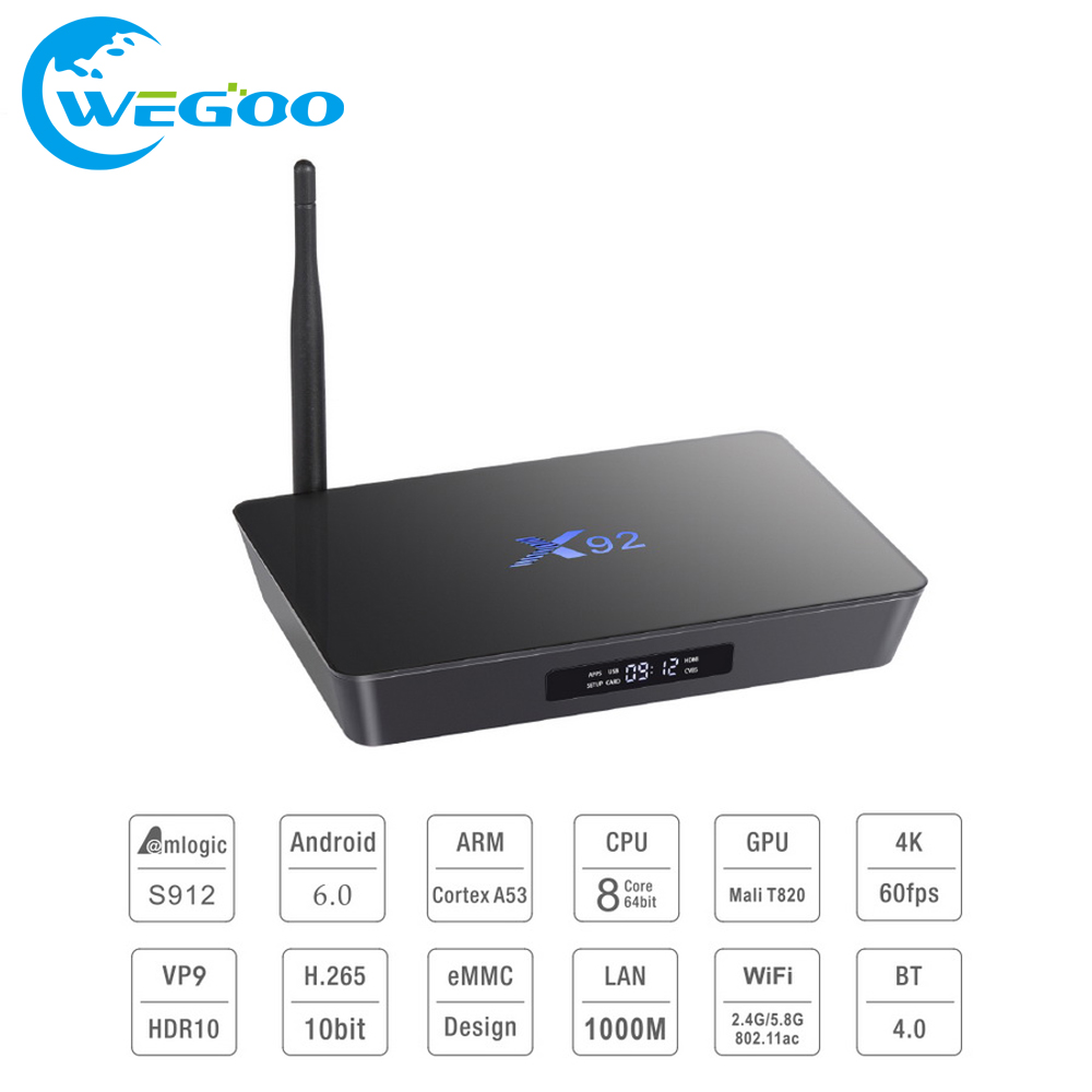 2017X92 2 GB/16 GB 3 GB/16 GB Android 6.0 Smart TV Caja Amlogic S912 x92 kodi 16