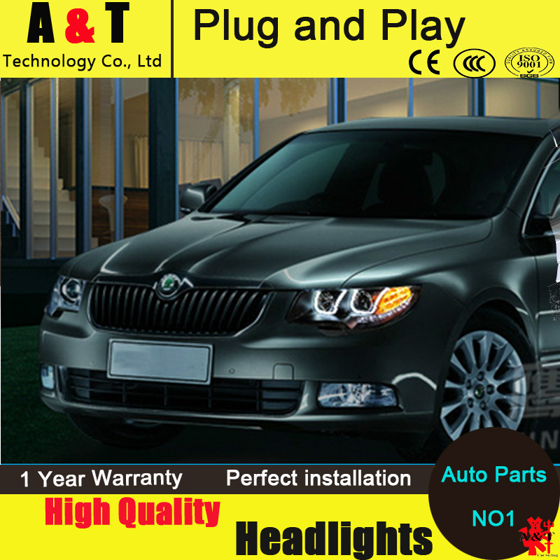 Car Styling LED Head Lamp for Skoda Superb headlight assembly 2009-2014 Superb drl Automobile H7 with hid kit 2 pcs. car styling head lamp for bmw e84 x1 led headlight assembly 2009 2014 e84 led drl h7 with hid kit 2 pcs