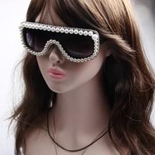 Luxury Sunglasses Women Bling Rhinestone Steampunk Sunglasses Men Brand Designer Vintage Pearl Sunglasses Fashion Sun glasses