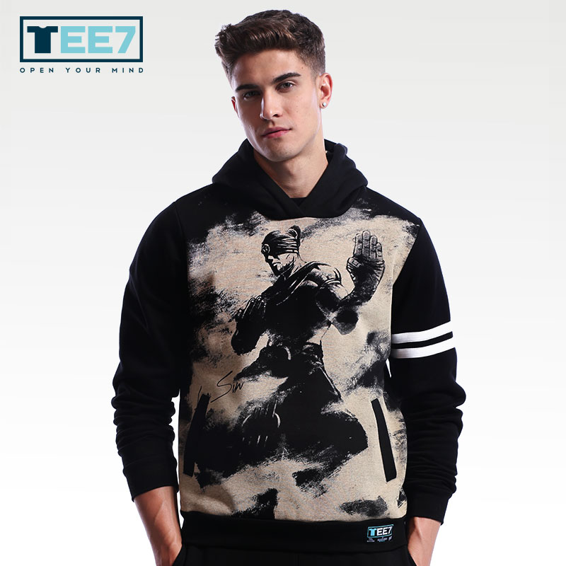 bd4eeaa7c772 New Arrival TEE7 Man Fashion Sweatershirt Hoodie Game LOL Yasuo Zed LeeSin  Akali Cotton Printed Top Male Casual Round Collar-in Hoodies   Sweatshirts  from ...