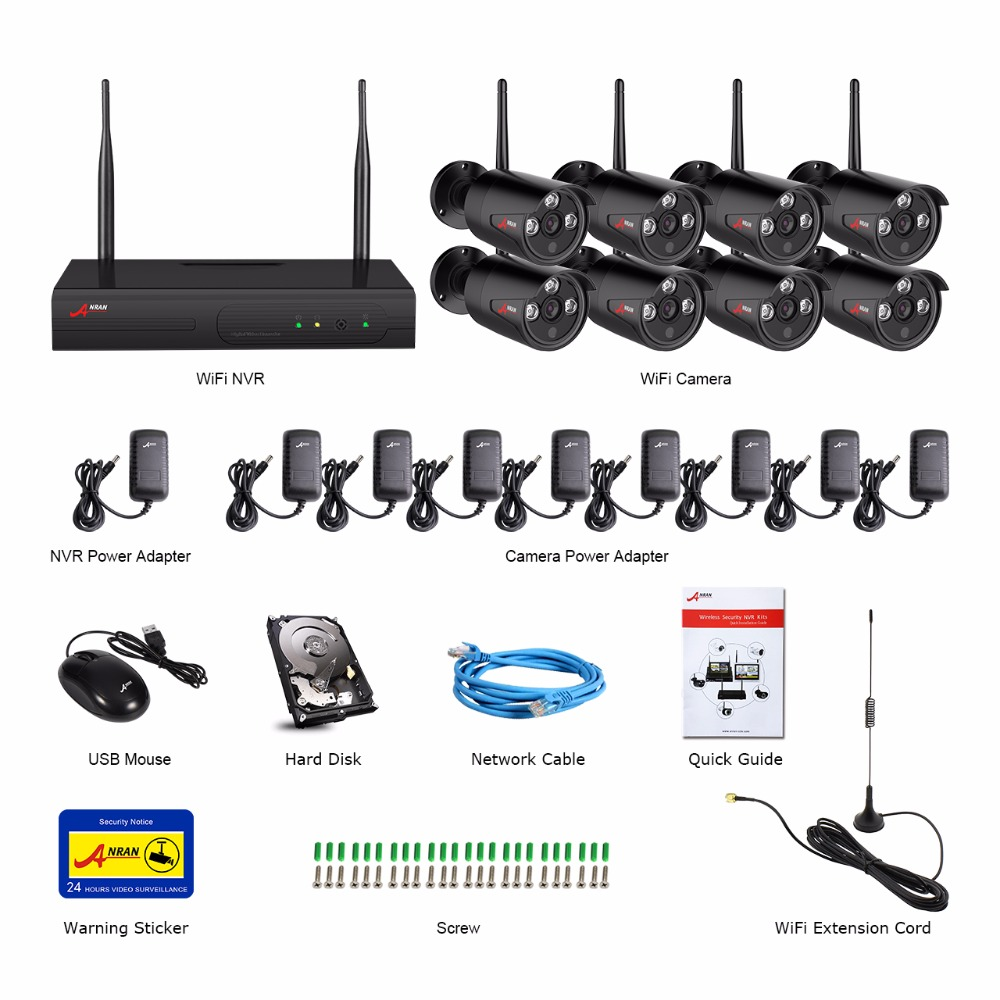 Image 5 - ANRAN 8CH CCTV System Wireless 1080P NVR With 2.0MP Outdoor Waterproof Wifi Security Camera System Night Vision Surveillance Kit-in Surveillance System from Security & Protection