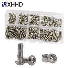цена на Hex Socket Button Head Cap Screw Metric Thread Pan Round Head Hexagon Machine Bolt Set Assortment Kit Box 304 Stainless Stee M3
