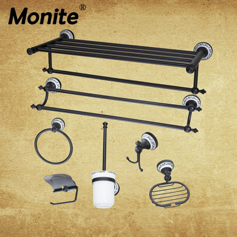 Wall Mounted Oil Rubbed Bronze Washroom Bathroom accessories Towel Ring Rack Paper Holder Toilet Brush Holder Frosted glass Cup flg modern bathroom accessories oil rubbed bronze surface brass toilet paper holder paper box wall mounted g507