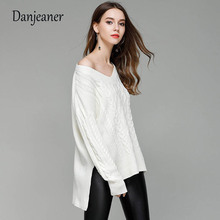 Danjeaner Autumn 2018 Women Off Shoulder Deep V-neck Pullovers Solid Slim Fit Retro Twisted Long Sleeve Sweaters Knitted Jumpers