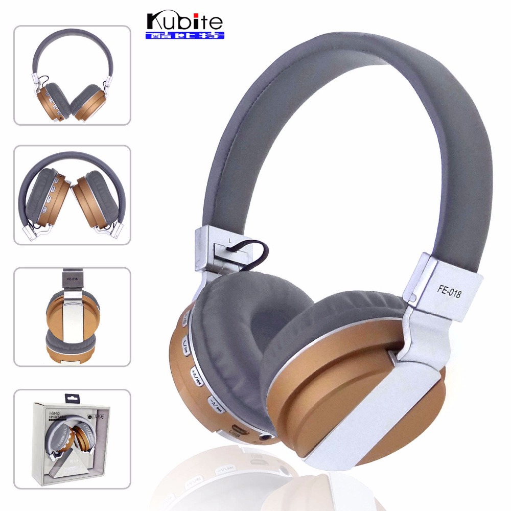 Kubite Folding Stereo Subwoofer Wireless Bluetooth Headset Metal Texture Colorful Style Headphones Support TF Card FM Radio tt tf ths 02b hybrid style black ver convoy asia exclusive