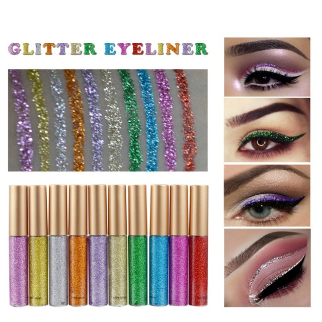 10 Color Glitters Eyeliner Makeup Eyeliner Professional Glitter Cosmetics Waterproof Shimmer Pigment Silver Gold Metallic Liquid