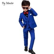 Брендовый деловой костюм с цветами для мальчиков свадебное студенческое платье джентльмен, Детская куртка, жилет, брюки галстук-бабочка, 4 предмета, костюмы для церемонии F158
