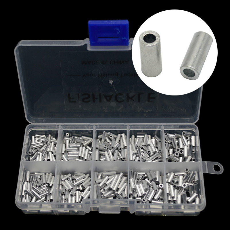 Aluminum Fishing Crimp Sleeves 500pcs/set Single Round Fishing Line Crimping Tube Wire Crimp Connector Accessories 1.0-1.8mm