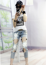 European Station Fashion New Stamped No Elastic Lace Flower Pearl Studded Hole Out Ripped Light Blue Women Jeans Lady blue fashion lace details bodycon ripped jeans