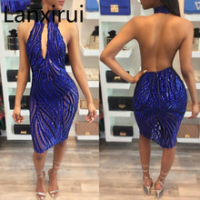 Sparkly Embellished Royal Blue Sequin Dress Women Sexy Cut -Out High -Neck Backless See Through Party Dress Vestidos sequin embellished mixed media dress