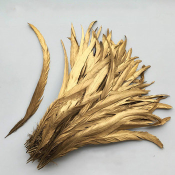 Wholesale 100pcs 30-35cm/12-14 inch Single Golden yellow Rooster feather Cock Tail Feather Chicken feather Rooster tail feather фото
