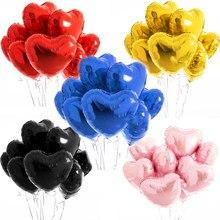 Balão laminado de gás hélio 5 peças, 18 polegadas, festa de chá de bebê, rosa e vermelho, em formato de coração balões de decoração