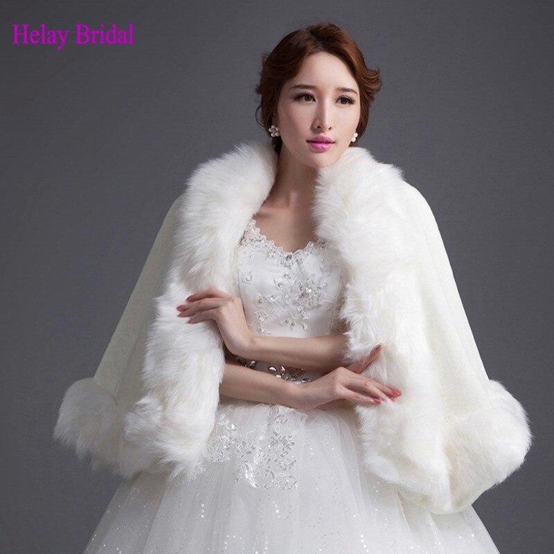 2015 livraison rapide femmes manteau dhiver nuptiale de mariage blanc manteau bolero fourrure marie - Bolero Fourrure Mariage