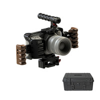Hontoo BMPCC2 4K Rig Kit DSLR RIG Integral Cage Baseplate Wooden Handle 15mm rig FOR BlackMagic Pocket Cinema Camera II 4K