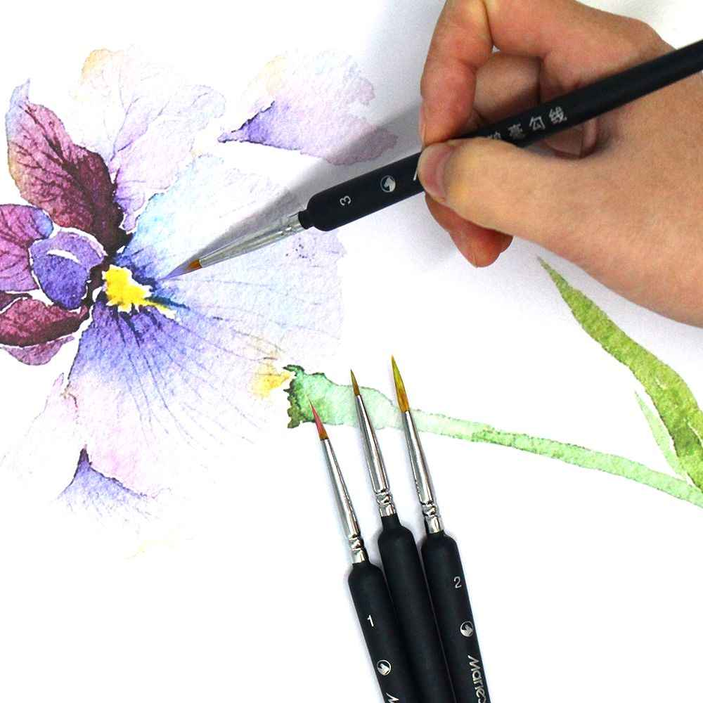 Miniature Paint Brushes Detail Set Hook Line Pen Round Point Watercolor Drawing Brush Pen For Paint By Numbers Supplies Kit