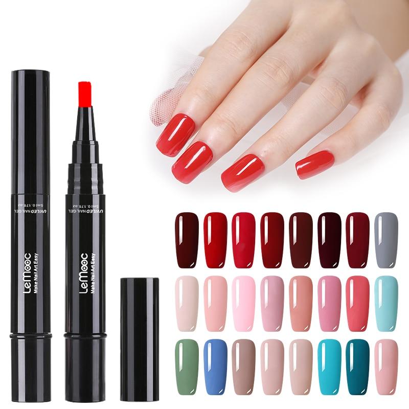 LEMOOC 5ml Nail Gel Pen 99 Colors UV Gel Polish Red Pink  Color Painting Pen Soak Off Nail Art UV Gel Varnish