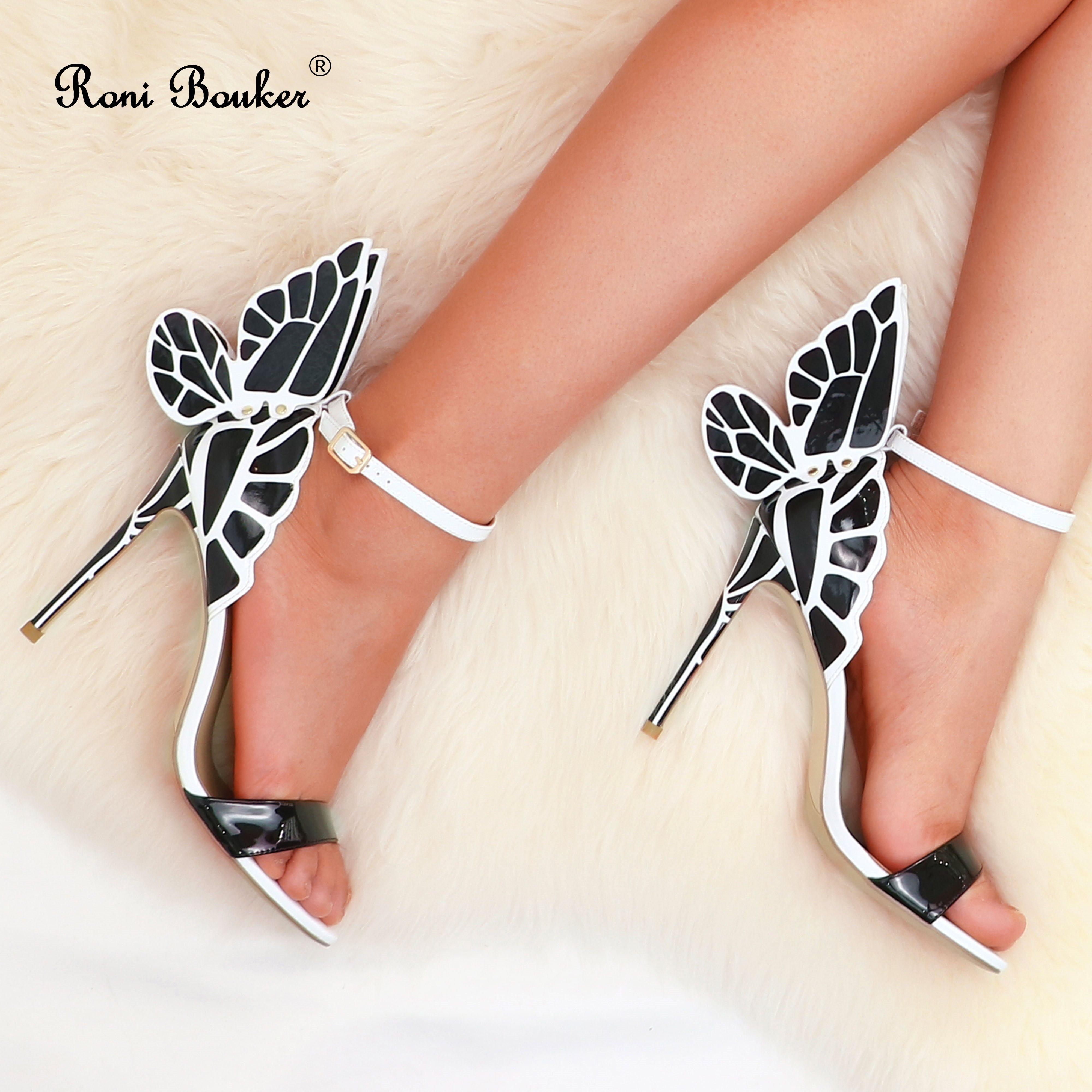 Roni Bouker Women Strappy Heels Woman Sandal High Heel Women s Wing Sandals Genuine Leather Summer