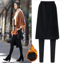 Women Fleece Skinny Pants Plus Size Thick M-5XL Skirt and Long Trousers Warm Soft Elastic Leggings ouc2695 цены