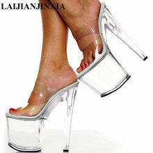 80445437ddd1 LAIJIANJINXIA 20cm High-Heeled Platform Slippers Sexy Shoes Flash Material 8  Inch High Heels 4