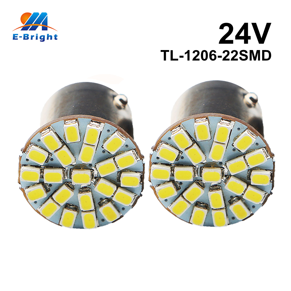 10pcs 24V 1206 22 SMD Led Bulbs 1156 BA15S 1157 BAY15D S25 Socket Auto Turn Signal Brake Lights White Indicator Free Shipping