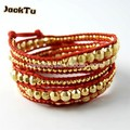 gold laser beads with nuggets red leather wrap bracelet